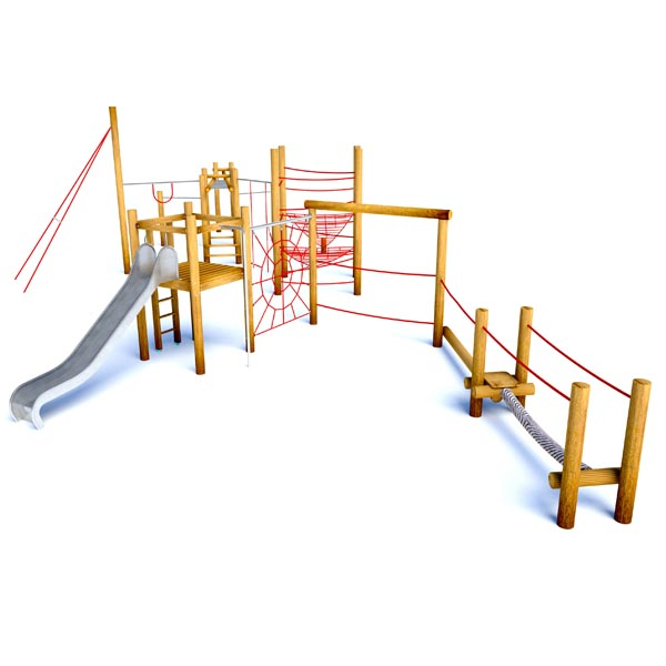 A challenging climbing frame/assault course provides a range of challenges together with a steel slide.