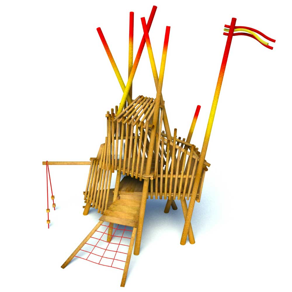 The Tower Mikad is an eye-catching wooden climbing frame. This play tower offers lots of play value and looks amazing in any natural playground.